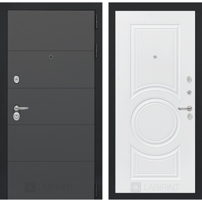 Стальная дверь Лабиринт ART 23 (Белый софт)
