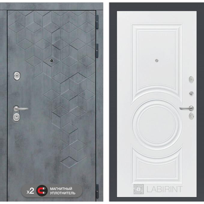 Стальная дверь Лабиринт Бетон 23 (Белый софт)