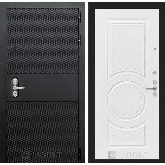 Стальная дверь Лабиринт BLACK 23 (Белый софт)