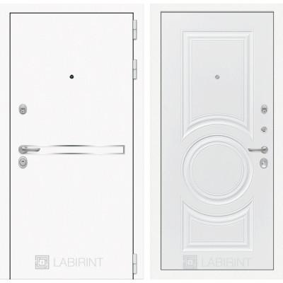Стальная дверь Лабиринт LINE WHITE 23 (Белый софт)
