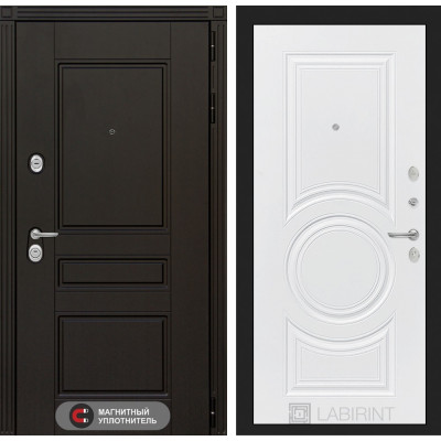 Стальная дверь Лабиринт Мегаполис 23 (Белый софт)
