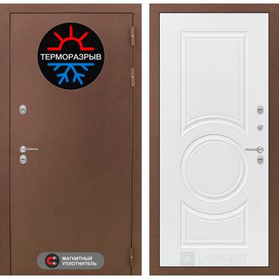 Стальная дверь Лабиринт Термо Магнит 23 (Белый софт)