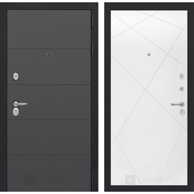Стальная дверь Лабиринт ART 24 (Белый софт)