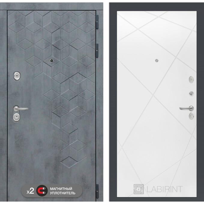Стальная дверь Лабиринт Бетон 24 (Белый софт)