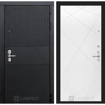 Стальная дверь Лабиринт BLACK 24 (Белый софт)