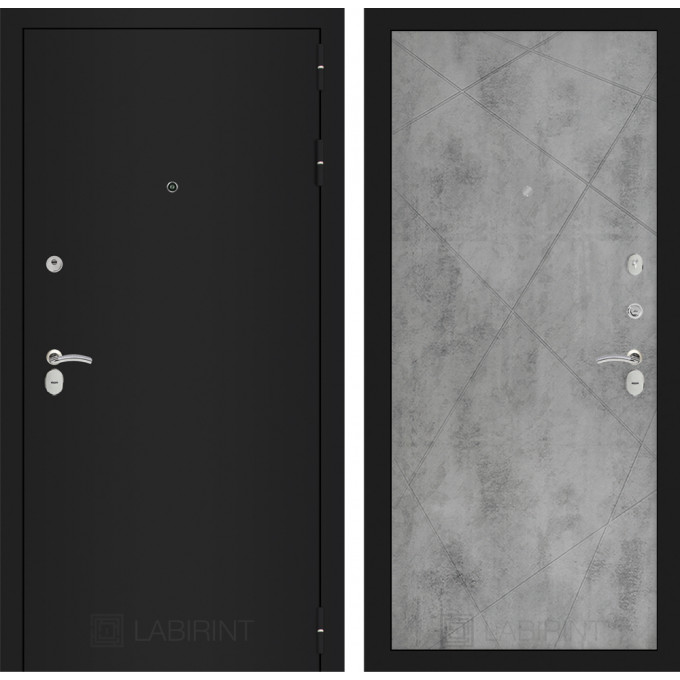 Дверь Лабиринт Classic 24 (Шагрень черная / Бетон светлый)
