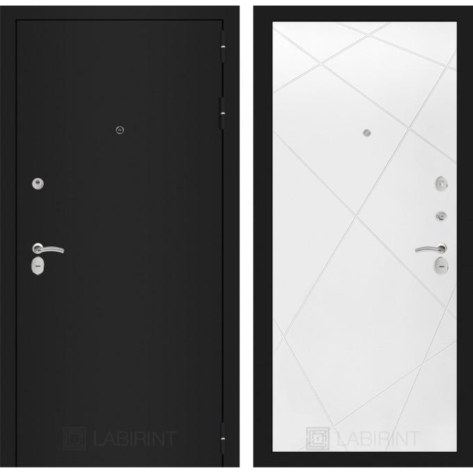 Дверь Лабиринт Classic 24 (Шагрень черная / Белый софт)