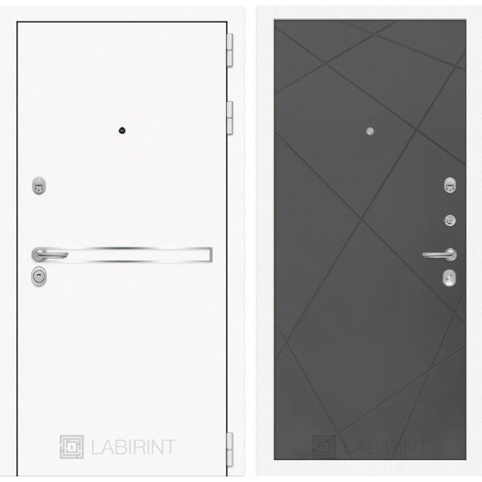 Стальная дверь Лабиринт LINE WHITE 24 (Графит софт)