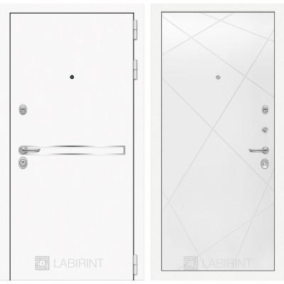 Стальная дверь Лабиринт LINE WHITE 24 (Белый софт)