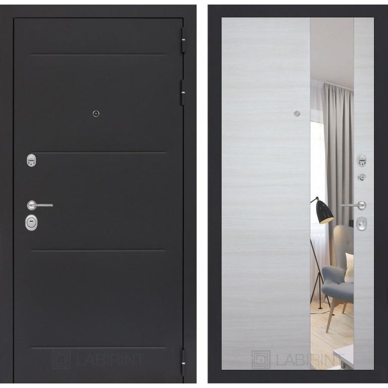 Стальная дверь Лабиринт LOFT с зеркалом (Акация светлая)
