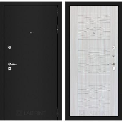 Дверь Лабиринт Classic 06 (Шагрень черная / Сандал белый)