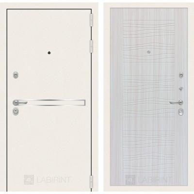Стальная дверь Лабиринт LINE WHITE 06 (Сандал белый)