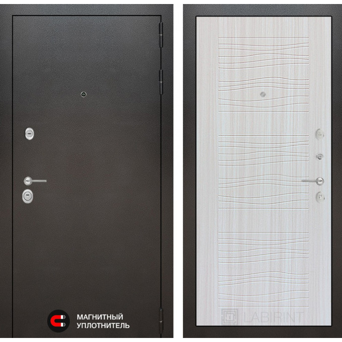 Стальная дверь Лабиринт SILVER 06 (Сандал белый)