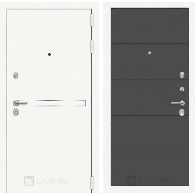 Стальная дверь Лабиринт LINE WHITE 13 (Графит софт)