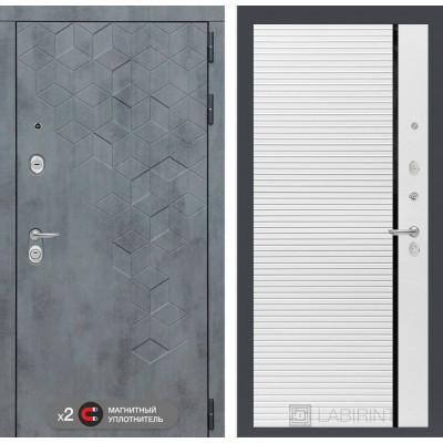 Стальная дверь Лабиринт Бетон 22 (Белый софт)