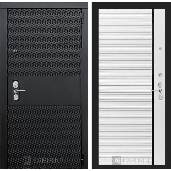 Стальная дверь Лабиринт BLACK 22 (Белый софт)