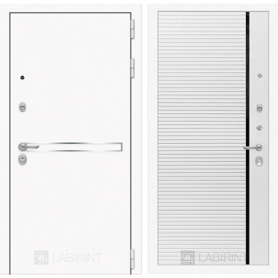 Стальная дверь Лабиринт LINE WHITE 22 (Белый софт)