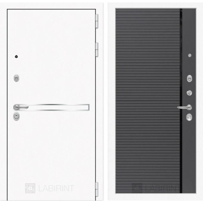 Стальная дверь Лабиринт LINE WHITE 22 (Графит софт)