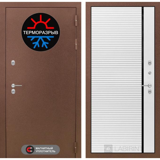 Стальная дверь Лабиринт Термо Магнит 22 (Белый софт)