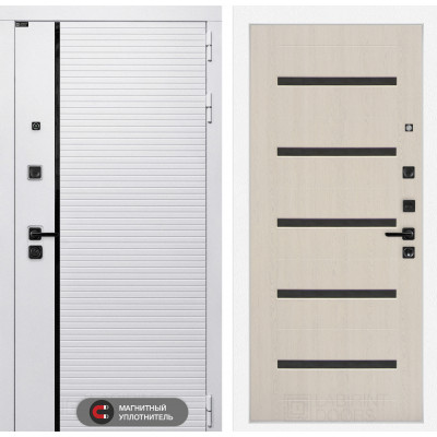 Стальная дверь Лабиринт Пиано WHITE 01 (Беленый дуб)