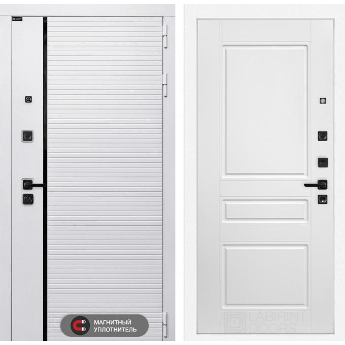 Стальная дверь Лабиринт Пиано WHITE 03 (Белый софт)