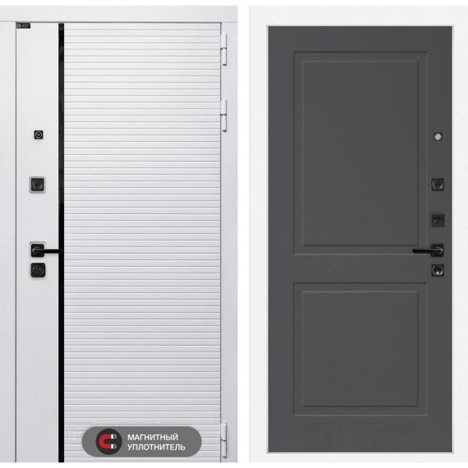 Стальная дверь Лабиринт Пиано WHITE 11 (Графит софт)
