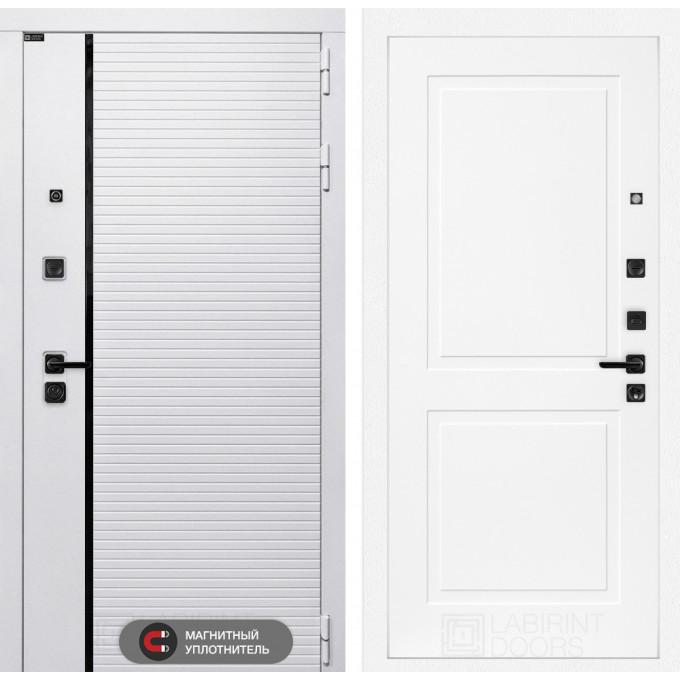 Стальная дверь Лабиринт Пиано WHITE 11 (Белый софт)