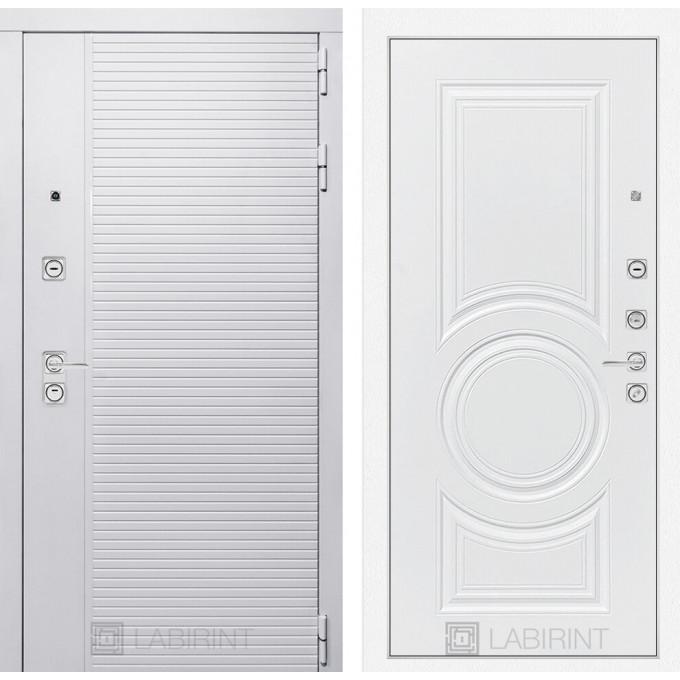 Стальная дверь Лабиринт Пиано WHITE 23 (Белый софт)