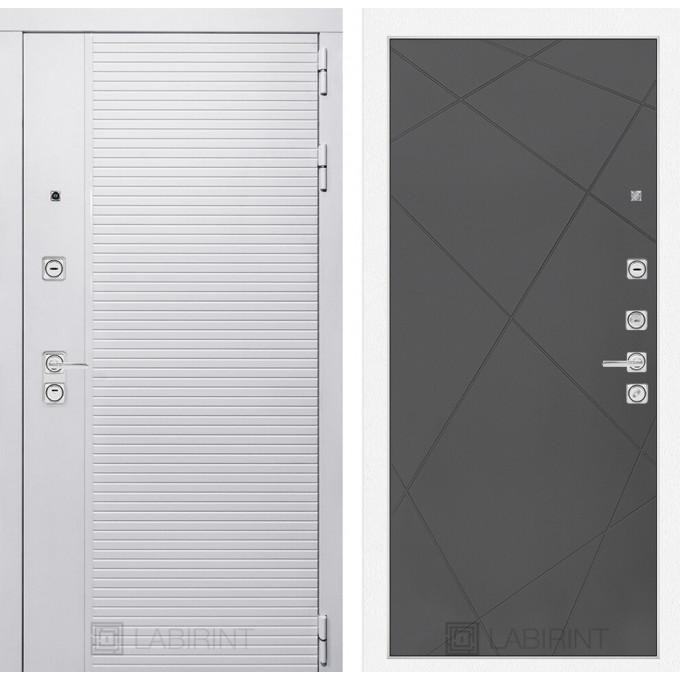 Стальная дверь Лабиринт Пиано WHITE 24 (Графит софт)