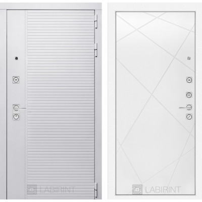 Стальная дверь Лабиринт Пиано WHITE 24 (Белый софт)