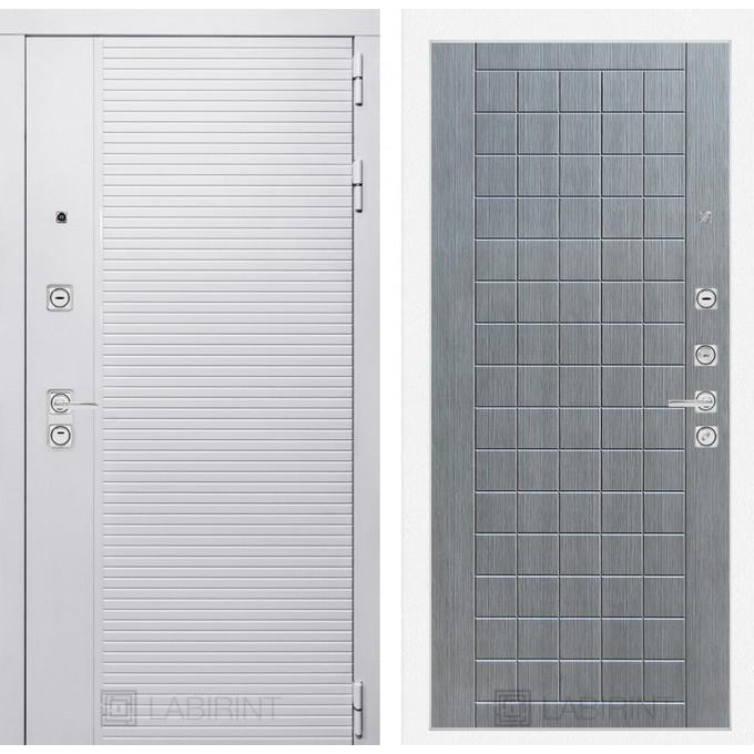 Стальная дверь Лабиринт Пиано WHITE 09 (Лен сильвер грей)