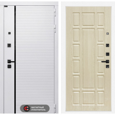 Стальная дверь Лабиринт Пиано WHITE 12 (Беленый дуб)