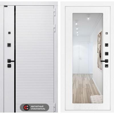 Стальная дверь Лабиринт Пиано WHITE 18 с зеркалом (Белое дерево)