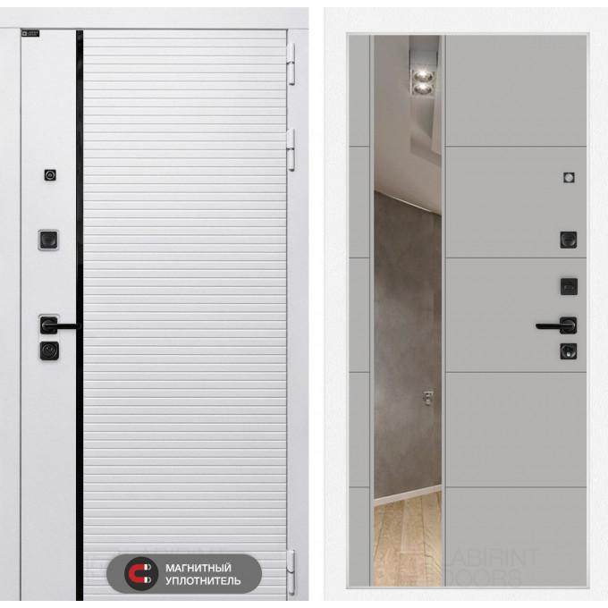 Стальная дверь Лабиринт Пиано WHITE 19 с зеркалом (Грей софт)