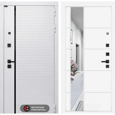 Стальная дверь Лабиринт Пиано WHITE 19 с зеркалом (Белый софт)