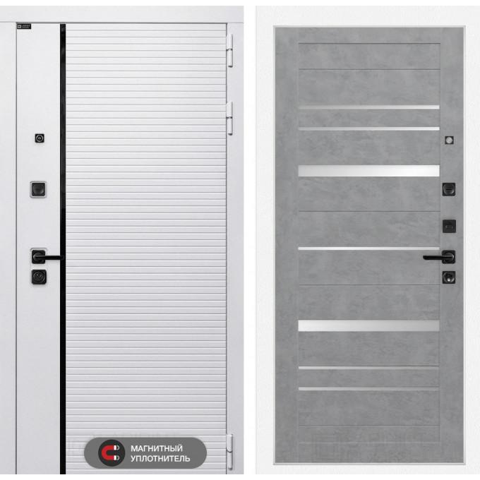 Стальная дверь Лабиринт Пиано WHITE 20 (Бетон светлый)