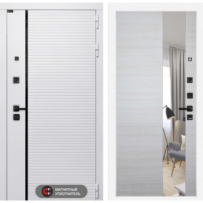 Стальная дверь Лабиринт Пиано WHITE с зеркалом (Акация светлая)