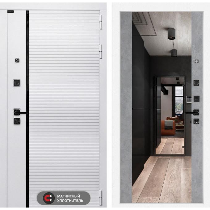 Стальная дверь Лабиринт Пиано WHITE Максимум с зеркалом (Бетон светлый)