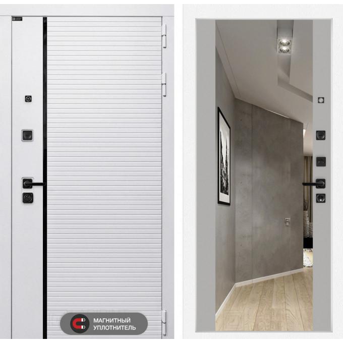 Стальная дверь Лабиринт Пиано WHITE Максимум с зеркалом (Грей софт)