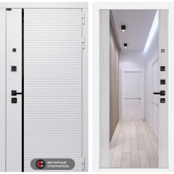 Стальная дверь Лабиринт Пиано WHITE Максимум с зеркалом (Сандал белый)