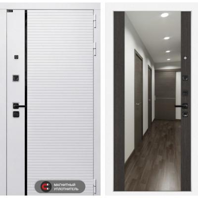 Стальная дверь Лабиринт Пиано WHITE Максимум с зеркалом (Венге)