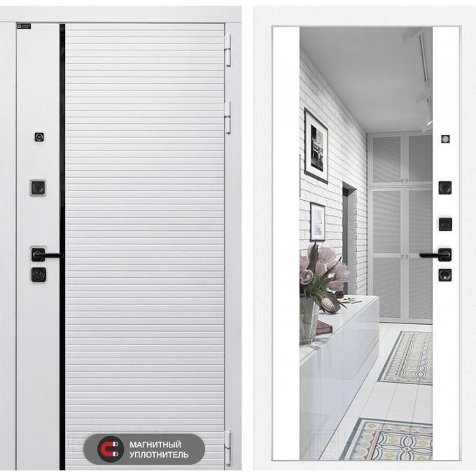 Стальная дверь Лабиринт Пиано WHITE Максимум с зеркалом (Белый софт)