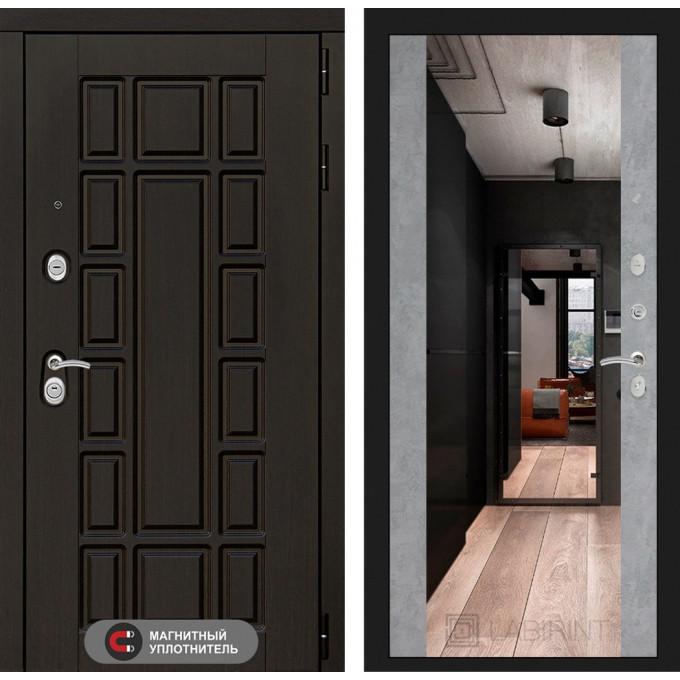Стальная дверь Лабиринт NEW YORK Максимум с зеркалом (Бетон светлый)