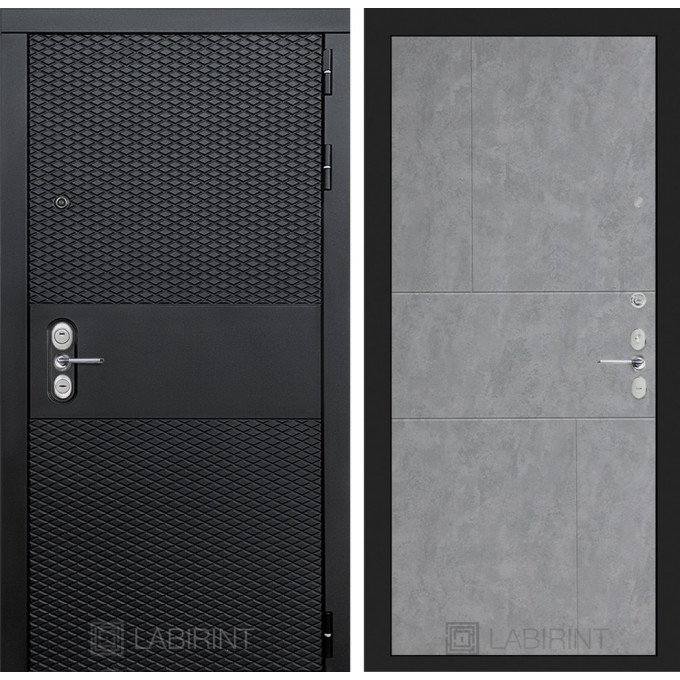 Стальная дверь Лабиринт BLACK 21 (Бетон светлый)
