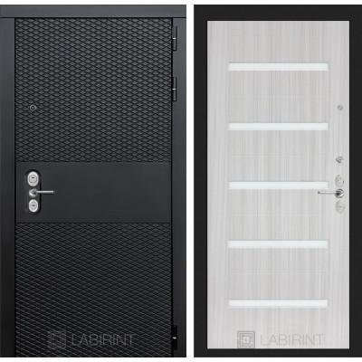 Стальная дверь Лабиринт BLACK 01 (Сандал белый)