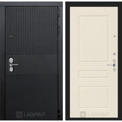 Стальная дверь Лабиринт BLACK 03 (Крем софт)