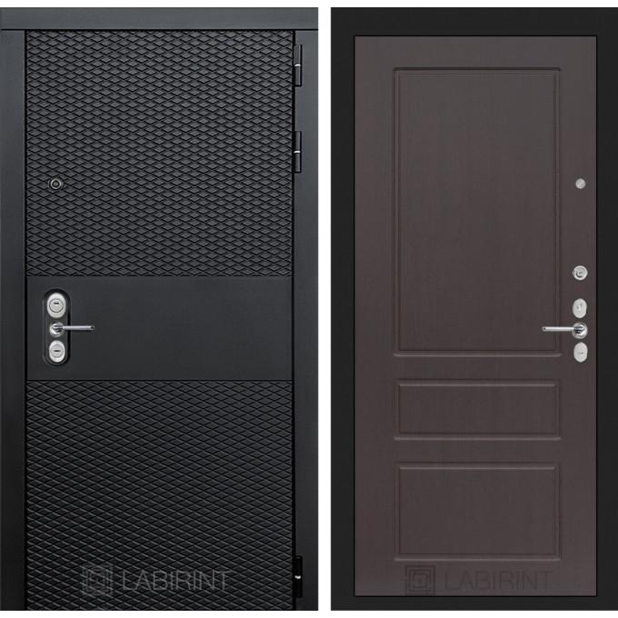 Стальная дверь Лабиринт BLACK 03 (Орех премиум)