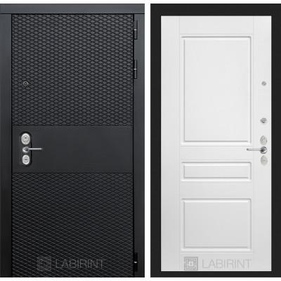 Стальная дверь Лабиринт BLACK 03 (Белый софт)