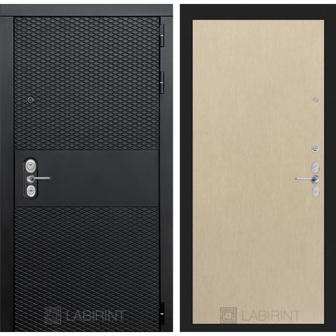 Стальная дверь Лабиринт BLACK 05 (Беленый дуб)