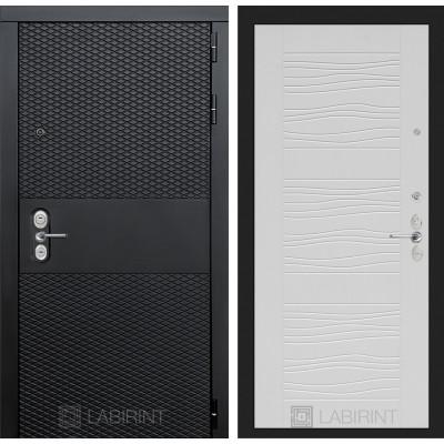 Стальная дверь Лабиринт BLACK 06 (Белое дерево)